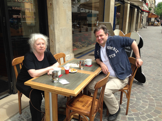 Nathalia Brodskaya and Ben von Solms having a cafe au lait at the Pop Up Cafe Maison Rouge