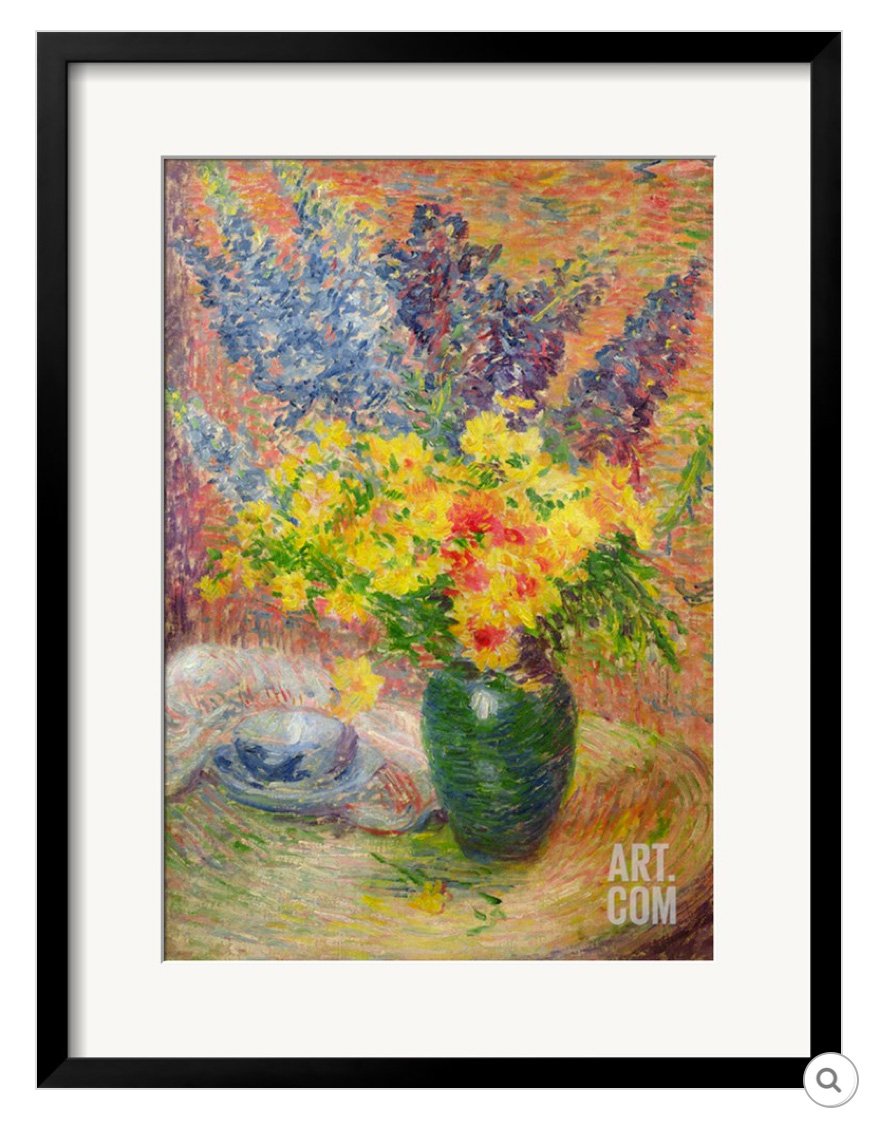 Art Print of the Delphinums and Chrysantemums painting by Anna Boch