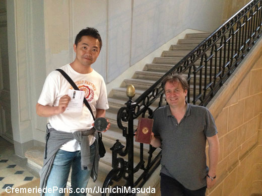 Junichi Masuda, co-inventor of the Pokemon and Ben von Solms on the staircase of the Cremerie de Paris / Hotel de Villeroy