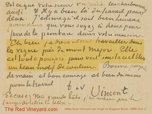 letter mentionning the Red Vineyard