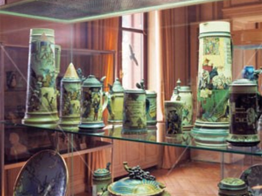 Mettlach Steins inside the Villa Ziegelberg, at the time it was a Museum of Ceramics